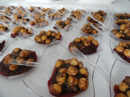 Herbed Chickpeas on Beet Purée