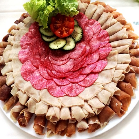 Cold cut party trays for a catered event