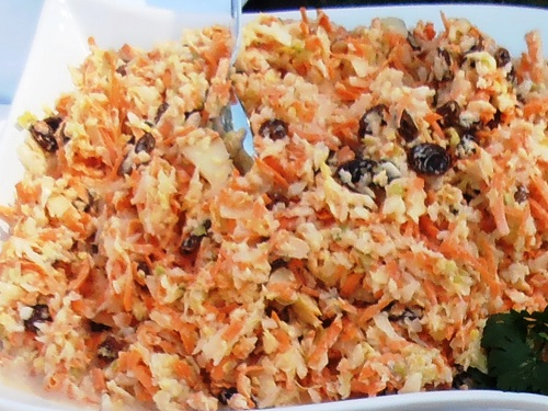 Cole slaw at a catered prodduct shoot
