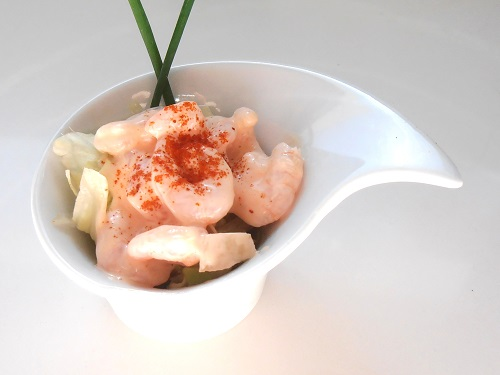 Classic shrimp coctail with rose maries sauce